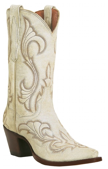 White Fancy Stitched Leather Foot