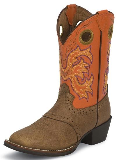 Justin 2522jr Kids Stampede Boot With Tan Dakota Leather