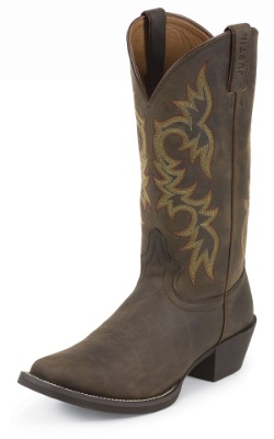 Justin 2552 Men S Stampede Western Western Boot With Sorrel Apache Cowhide Foot And A Single Stitched Wide Square Toe