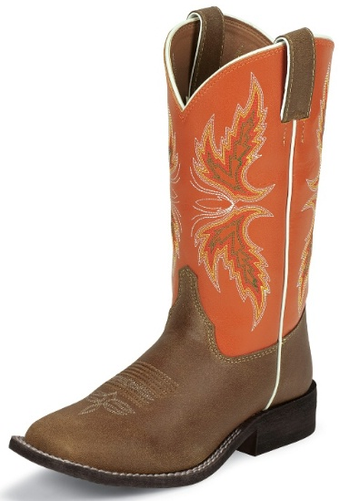 199068f56da Justin 302JR Kids Cowboy Boot with Camel Sandstorm Leather Foot and a  Double Stitched Wide Square Toe
