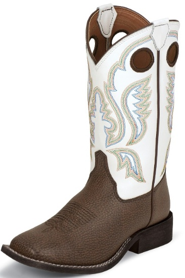 aecc7580583 Justin 305JR Kids Cowboy Boot with Chocolate Bisonte Leather Foot and a  Double Stitched Wide Square Toe
