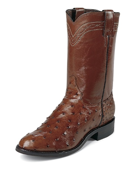 e7a9cc2dae5 Justin 3105 Men's Exotic Roper Boot with Antique Brown Full Quill Ostrich  Foot and a Roper Toe