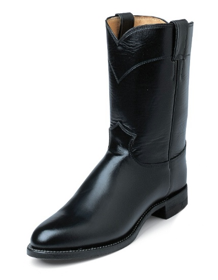 2ba7b1830cd Justin 3170 Men's Classic Roper Boot with Black Melo Veal Cowhide Foot and  a Roper Toe