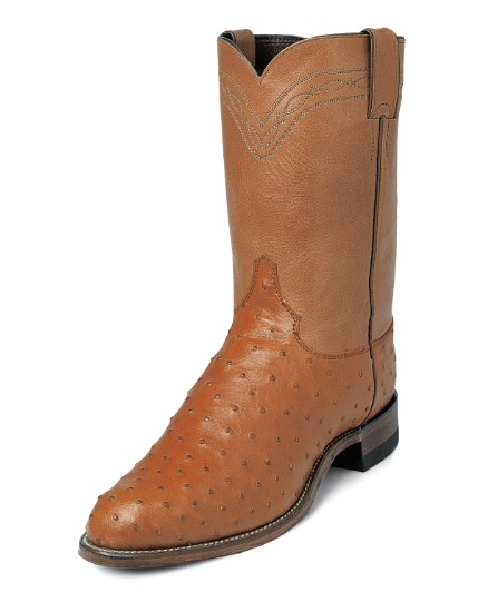 90feb1b8517 Justin 3186 Men's Exotic Roper Boot with Cognac Full Quill Ostrich Foot and  a Roper Toe