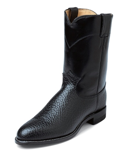 d6532930c6f Justin 3187 Men's Classic Roper Boot with Black Bullhide Foot and a Roper  Toe