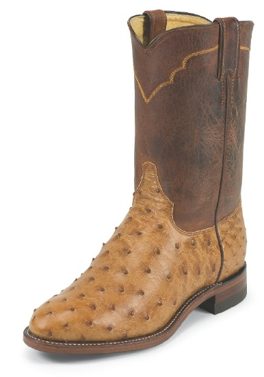5cb34e921e5 Justin 3192 Men's Exotic Roper Boot with Cognac Vintage Full Quill Ostrich  Foot and a Roper Toe