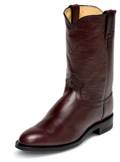 2773397fac4 Justin 3435 Men's Classic Roper Boot with Black Cherry Corona Cowhide Foot  and a Roper Toe