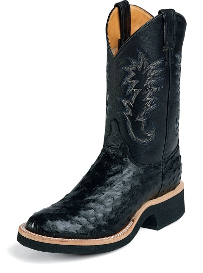 d9f903e8453 Justin 5003 Men's Tekno Crepe Western Boot with Black Full Quill Ostrich  Foot and a Double Stitched Low Profile Round Toe