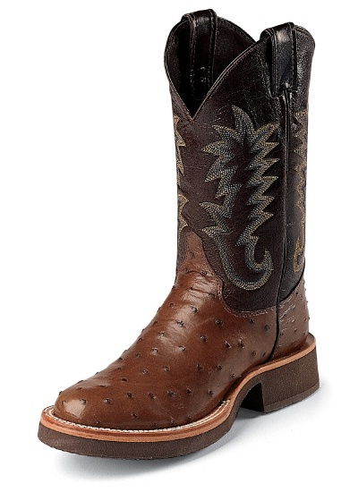 Justin 5031 Men's Tekno Crepe Western Boot with Antique Brown Full Quill  Ostrich Foot and a Double ...