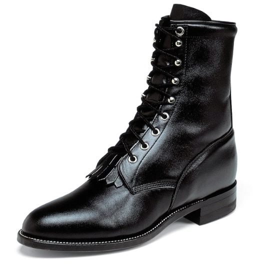 6095c25ef4e Justin 506 Men's Classic Lace-Up Boot with Black Cowhide Foot and a Roper  Toe