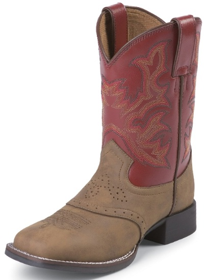 dce6289e47958 Justin 7004C Childrens Cowboy Boot with Tan Vintage Leather Foot with  Saddle and a Double Stitched Wide Square Toe