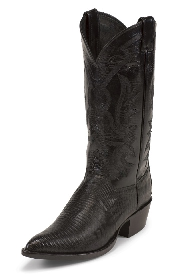 5daf8c8fc02 Justin 8105 Men's Exotic Western Boot with Black Lizard Foot and a Narrow  Rounded Toe