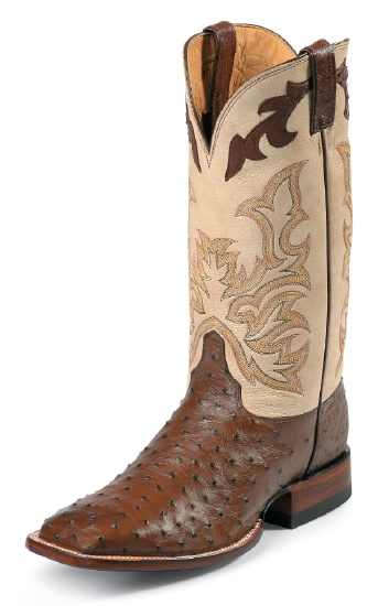 126577706a8 Justin 8500 Men's AQHA Lifestyle Remuda Western Boot with Antique Brown  Full Quill Ostrich Foot and a Double Stitched Wide Square Toe
