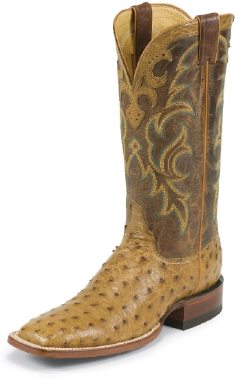 955be85996e Justin 8512 Men's AQHA Lifestyle Remuda Western Boot with Antique Tan Full  Quill Ostrich Foot and a Double Stitched Wide Square Toe