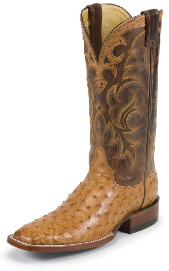 0e3903cfe19 Justin 8513 Men's AQHA Lifestyle Remuda Western Boot with Cognac Vintage  Full Quill Ostrich Foot and a Double Stitched Wide Square Toe
