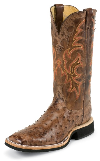92eeac41b33 Justin 8810 Men's AQHA Lifestyle Q-Crepe Western Boot with Antique Brown  Vintage Full Quill Ostrich Foot and a Double Stitched Wide Square Toe