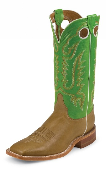 ee1423e2701 Justin BR304 Men's Bent Rail Western Boot with Saddle Burnished Calf Foot  and a Double Stitched Wide Square Toe