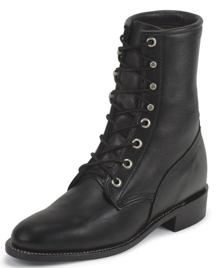 0d8593ed307 Justin L0516 Ladies Classic Lace-Up Boot with Black Chester Cowhide Foot  and a Roper Toe