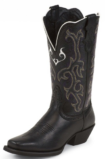 1b505da3abd Justin L2554 Ladies Stampede Western Western Boot with Black Deercow  Cowhide Foot and a Single Stitched Wide Square Toe