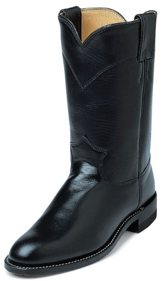 0ea69d37a1e Justin L3703 Ladies Classic Roper Boot with Black Kipskin Cowhide Foot and  a Roper Toe