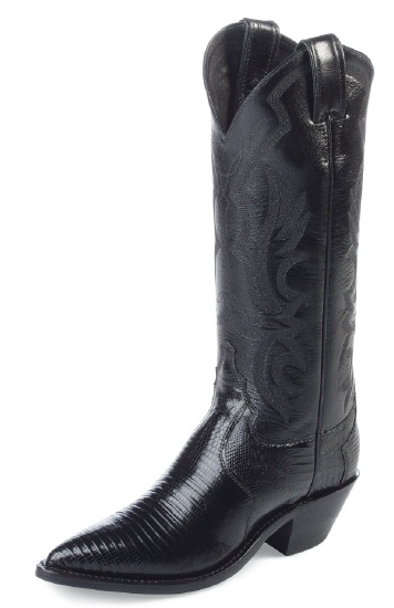 f98a29ace4e Justin L4786 Ladies Exotic Western Western Boot with Black Lizard Foot and  a Narrow Rounded Toe