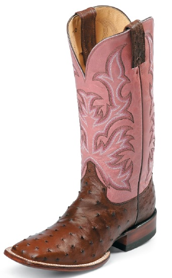 adff1092a0f Justin L8506 Ladies AQHA Lifestyle Remuda Western Boot with Antique Brown  Full Quill Ostrich Foot and a Double Stitched Wide Square Toe