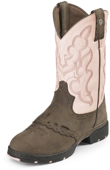 104783c204b Justin L9035 Ladies George Strait :03:1 Western Boot with Bay Apache  Cowhide Foot w/ Saddle and a Low Profile Broad Round Toe