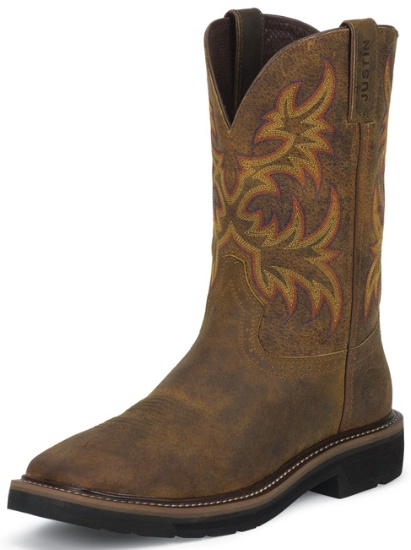 00e84a02f9a Justin WK4681 Men's Stampede Collection Work Boot with Rugged Tan Leather  Foot and a Stampede Round Toe