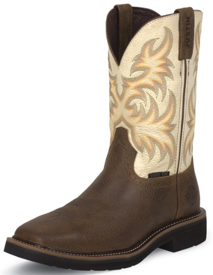 justin square steel toe work boots