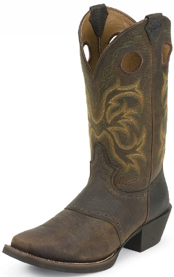 Justin 2523 Men\u0027s Stampede Western Western Boot with Dark Brown Rawhide  With Perfed Saddle Vamp Foot and a Wide Square Toe