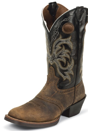 2933ed990f1 Justin 2531 Men's Stampede Western Western Boot with Tan Distressed Buffalo  and a Double Stitched Wide Square Toe