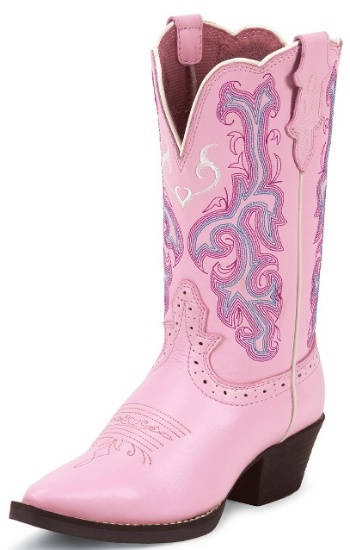 Justin 2556jr Kids Stampede Western Boot With Pink