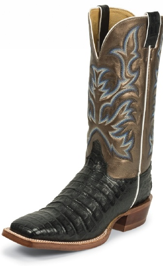 901e9970ef5 Justin 9607 Men's Exotic Western Boot with Black Vintage Belly Caiman and a  Double Stitched Wide Square Toe