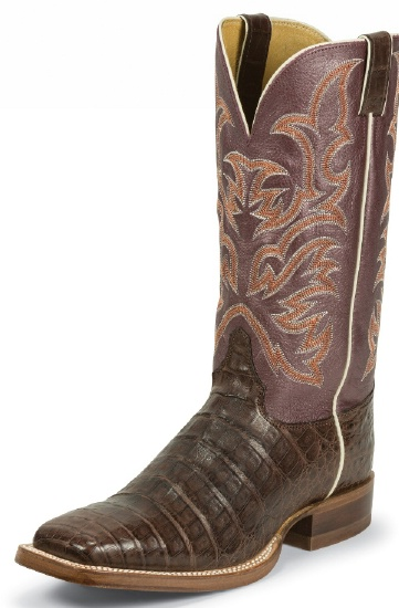 fc028f12633 Justin 9608 Men's Exotic Western Boot with Chocolate Vintage Belly Caiman  and a Double Stitched Wide Square Toe