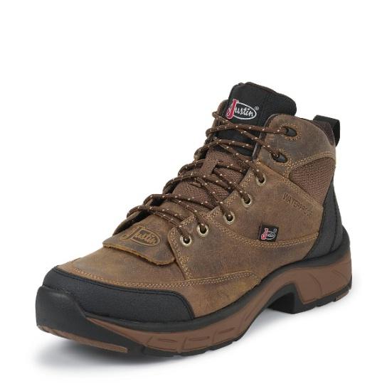 8fde5ccf4ea Justin 927 Men's Stampede Boot with Tan Distressed Jaguar Foot and a Shoe  Toe