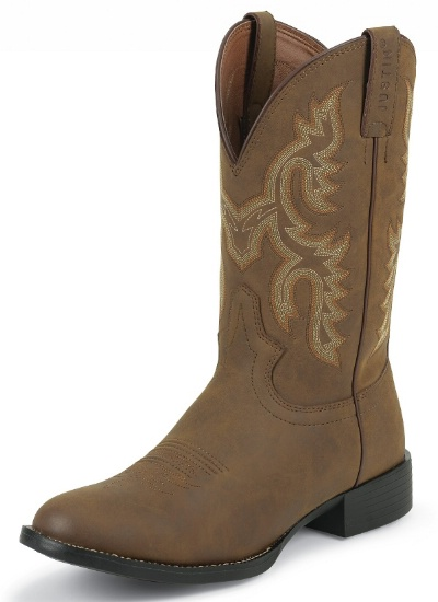 91bc252e015 Justin JB2000 Men's Farm and Ranch Boot with Tan Crazy Cow Foot and a Low  Profile Broad Round Toe