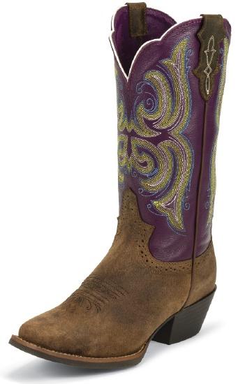 Justin L2567 Ladies Stampede Western Western Boot With Tan