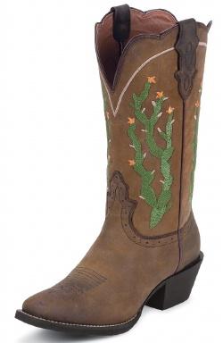 Justin L2712 Ladies Stampede Western Western Boot With Tan