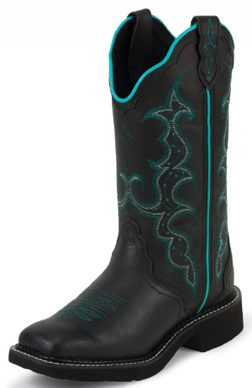 83a68172ab9 Justin L2902 Ladies Gypsy Western Boot with Black Crazy Horse Cowhide Foot  and a Wide Square Toe