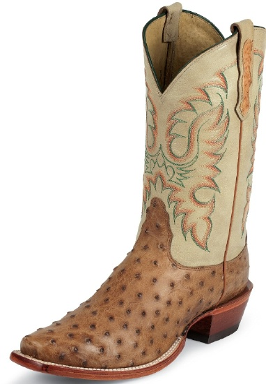 b23a8b90775 Nocona MD6512 Men's Exotic Western Boot with Cognac Waxy Full Quill Ostrich  Foot and a Punchy Square Toe