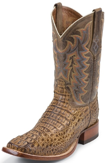 b5baea83d43 Tony Lama 1066 Men's Exotic Collection Stockman Boot with Tan Vintage  Bodycut Royal Hornback Caiman Leather Foot and a Medium Wide Square Toe
