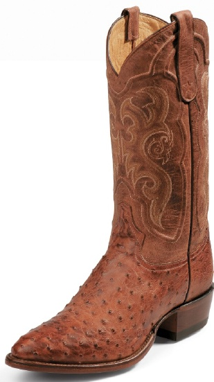 dcfb8c7b435 Tony Lama 8963 Men's Exotic Collection Western Boot with Cognac Vintage  Full Quill Ostrich Leather Foot and a Medium Round Toe