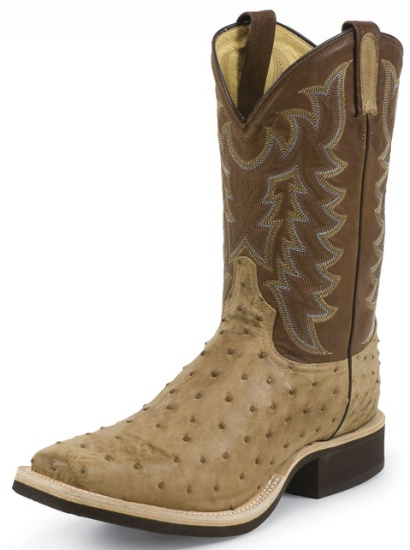 d82f1367670 Tony Lama 8986 Men s Cowboy Crepe Collection Stockman Boot with Tan Vintage  Full Quill Ostrich Leather Foot and a Double Stitched Medium Wide Square Toe