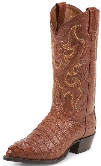 18647e01817 Tony Lama CY1009 Men's Exotic Collection Western Boot with Almond Royal  Hornback Tailcut Caiman Leather Foot and a Narrow Round Toe