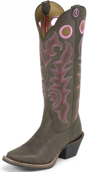 fb004732bce Tony Lama RR2008L Ladies 3R Collection Buckaroo Boot with Chocolate Yukon  Leather Foot with Saddle and a Double Stitched Medium Wide Square Toe