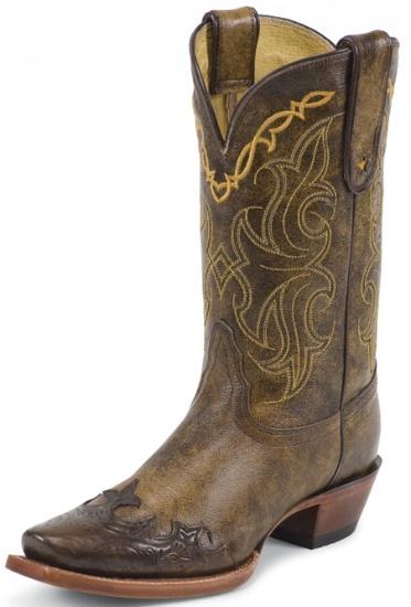 Tony Lama VF6004 Ladies Vaquero Western Boot with Bark Santa Fe Leather  Foot with Tan Tooled Wingtip ...