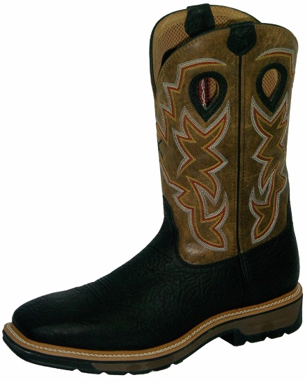 5c42dec5b11 Twisted X MLCW005 for $149.99 Men's' Pull On Work Lite Boot with Oiled  Black Leather Foot and a New Wide Toe