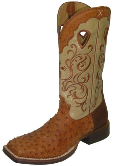 f9e1a4c42c6 Twisted X MRSL011 for $399.99 Men's' Gold Buckle Western Boot with Brandy  FQ Ostrich Leather Foot and a New Wide Toe